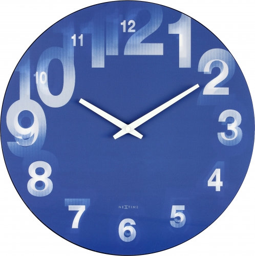 NeXtime 3D round blue modern design wall clock
