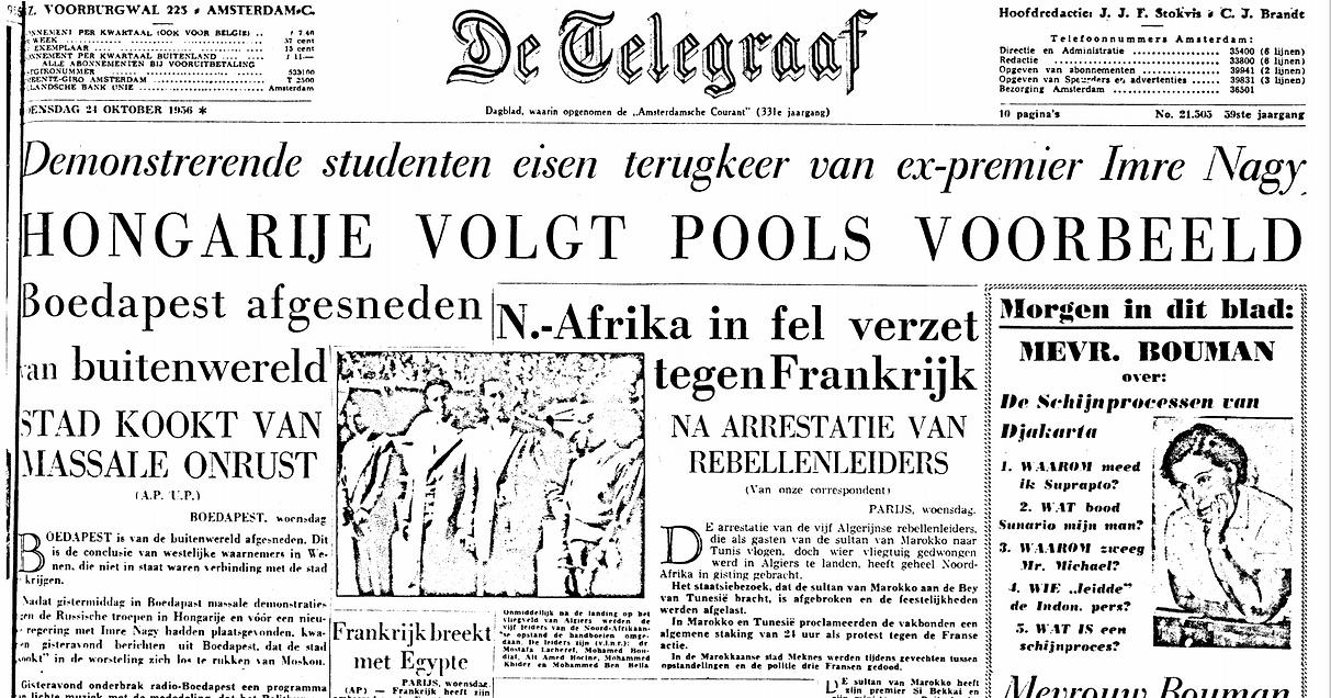 The  release of De Telegraaf  24 oktober 1956
