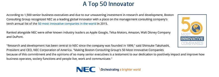NEC to 50 Innovator