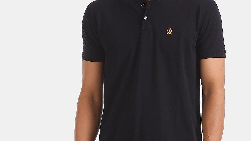 TRUE BLUE Black Mandarin Collar Premium Polo Shirt