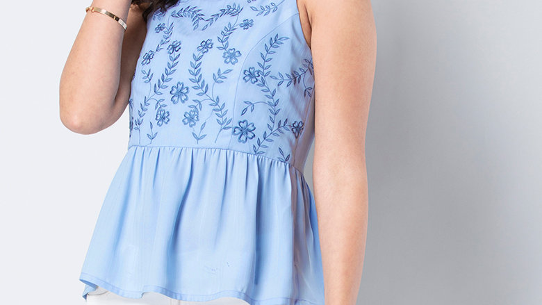 Pastel Blue Embroidered Cami Top