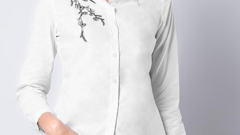 White Black Floral Vine Embroidered Shirt