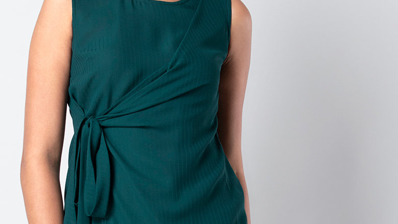 Green Side Tie Blouse