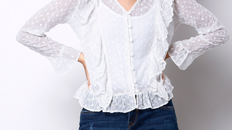 White Ruffled Schiffli Peasant Top