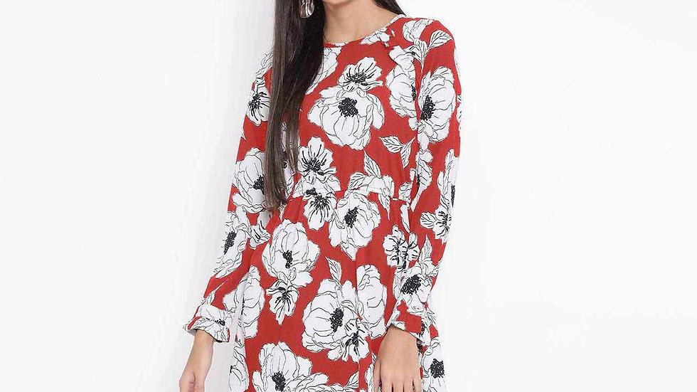 FLORAL BUSINESS FIERY WOMEN DRESS
