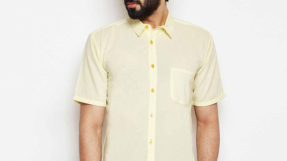 Men Lime Shadow Stud Fit Shirt