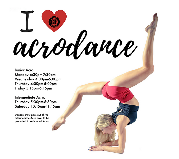 Junior and Intermediate Acro dance class