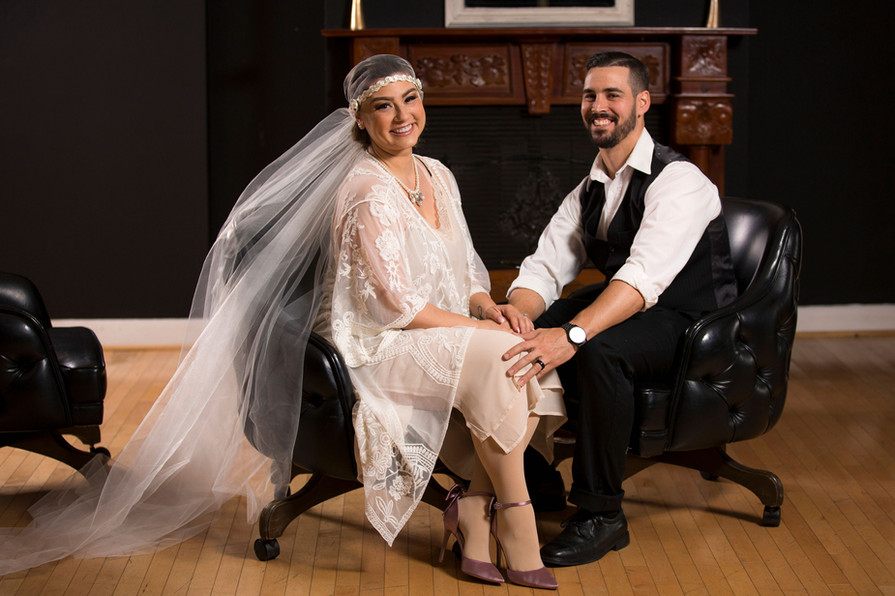 Grand Opening Photoshoot - Bride and Groom in Amerige Room