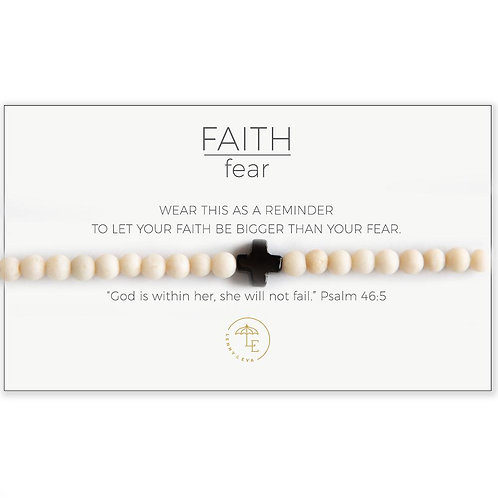 Cross Stretch Bracelet-White/Black