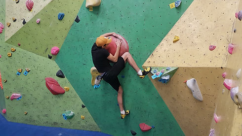 Bouldering in a Climbing Wall