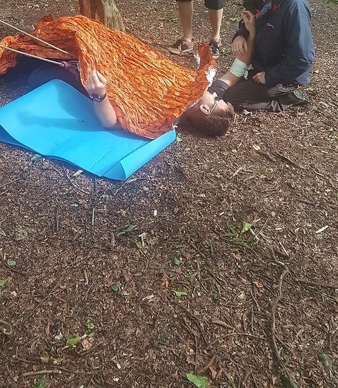 Tree Climber On Floor With Cut Arm.