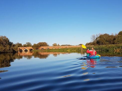 Kayaking on calm water