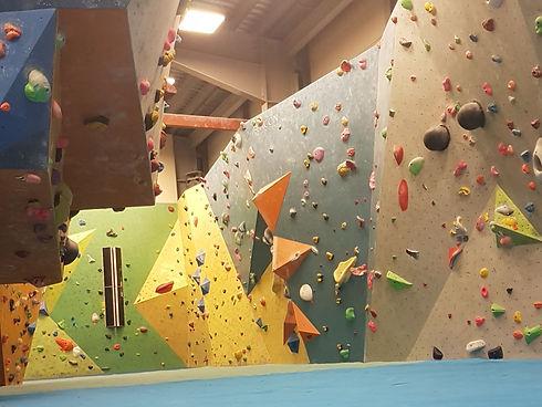 Indoor climbing bouldering wall