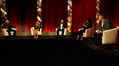 Studio TX awards chat show style with standard backdrop
