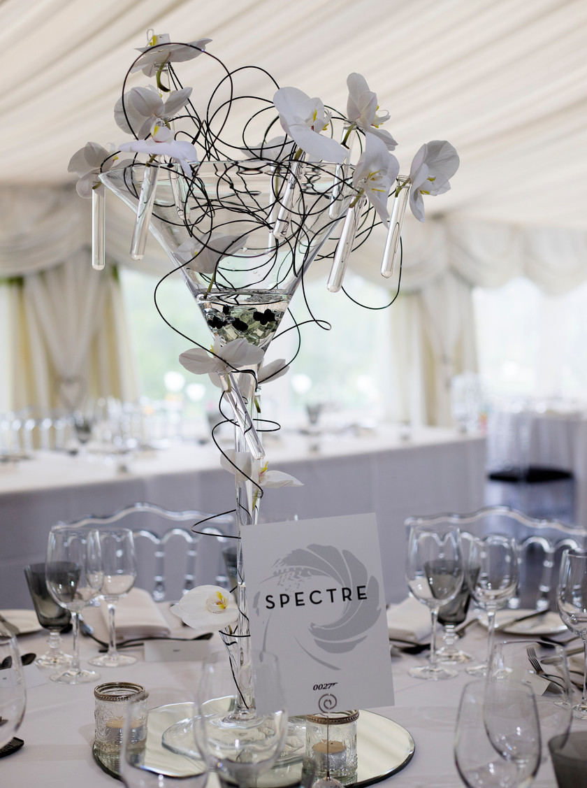 martini glass table centrepiece russets country house