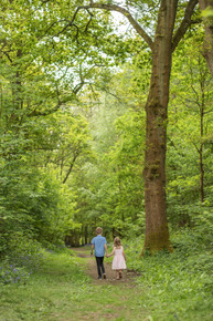 Tonbridge Family Photography session, boy and girl walking through the woods