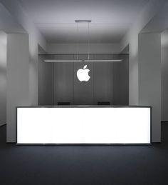 Mostrador blanco con iluminación.