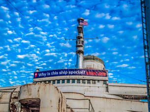 Bright New Banner Graces SS United States Flybridge