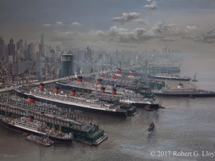 Robert G. Lloyd 'Luxury Liner Row' print featuring SS United States now available