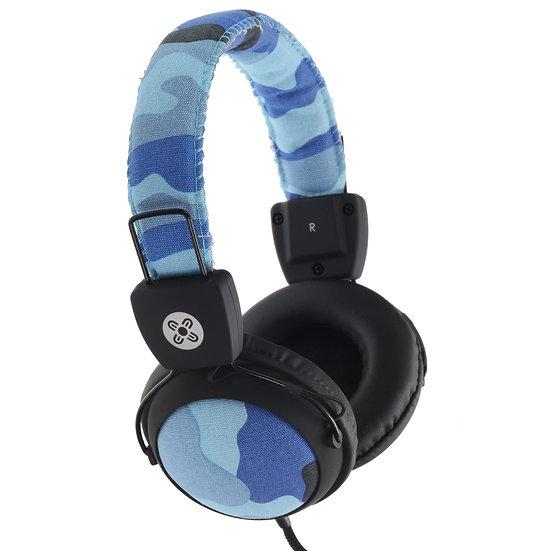 Moki Camo Headphones w/In-Line Mic- Blue