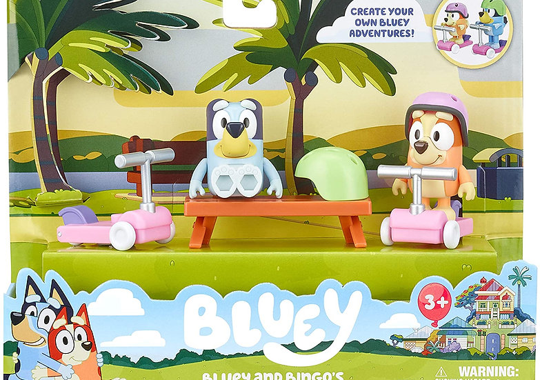 Bluey Mini Vehicle Playset - Blueys and bingos scooter fun