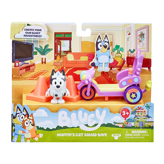 Bluey Mini Vehicle Playset - Muffin's Cat Squad Bike - Muffin
