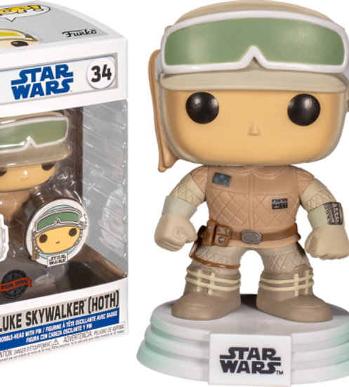 Pop! Vinyl Star Wars:Across the Galaxy Luke Skywalker Hoth US Exclusive with Pin