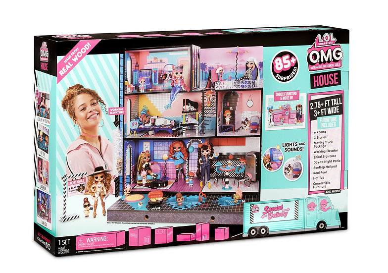 L.O.L. Surprise O.M.G. House – Real Wood Doll House with 85+ Surprises