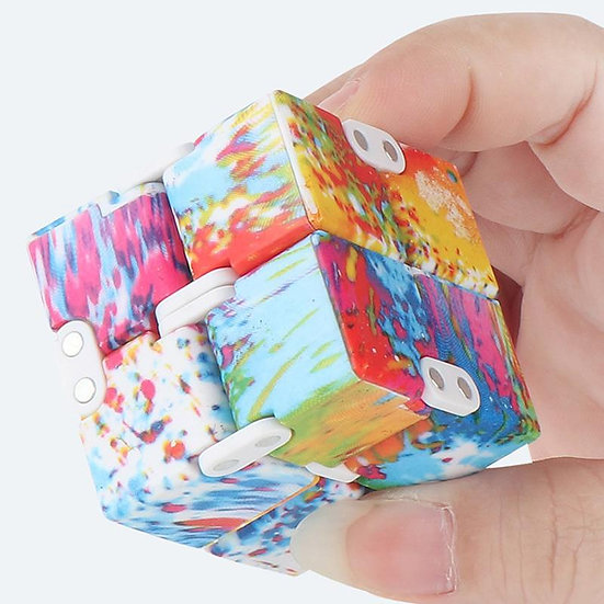 Deluxe Coloured Infinity Cube Fidget Toy  Assorted