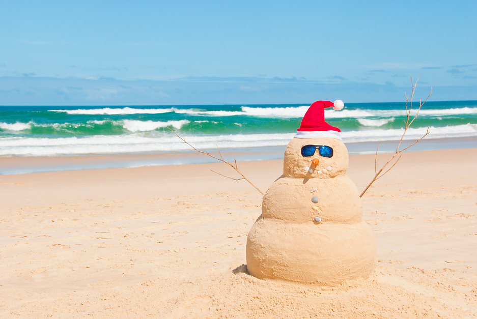 Snowman on holidays made out of sand ins