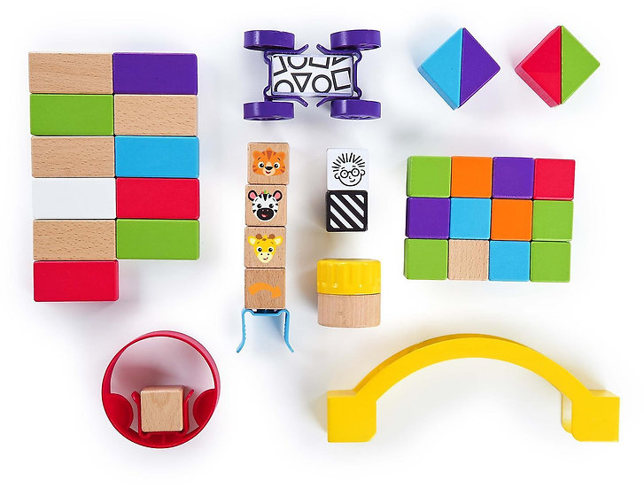 Baby Einstein Curious Creator Kit Wooden Blocks Discovery 40 Piece Toy Set