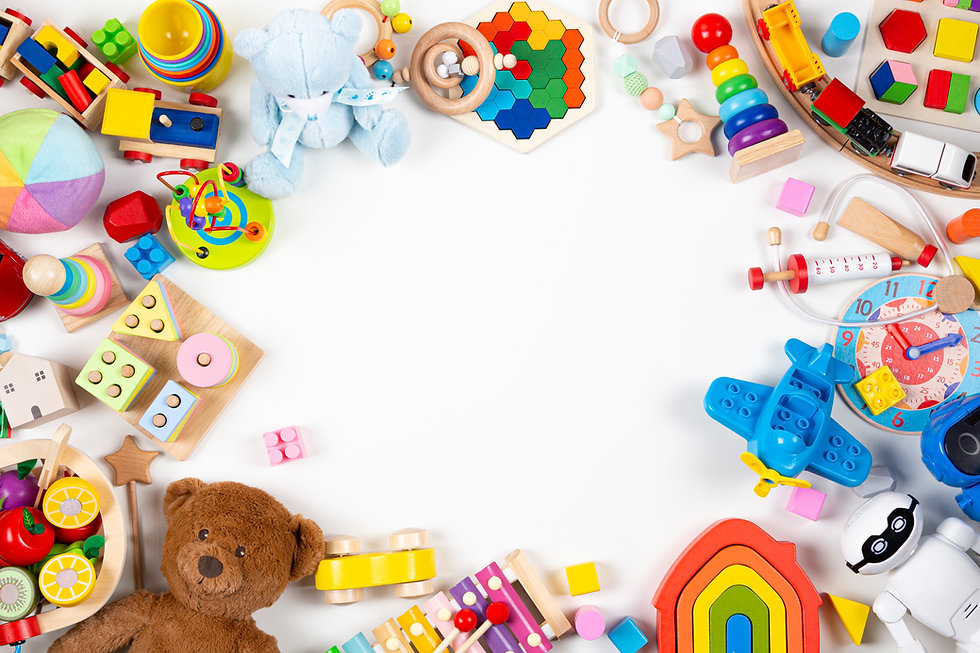 Baby kids toys frame. Set of colorful ed