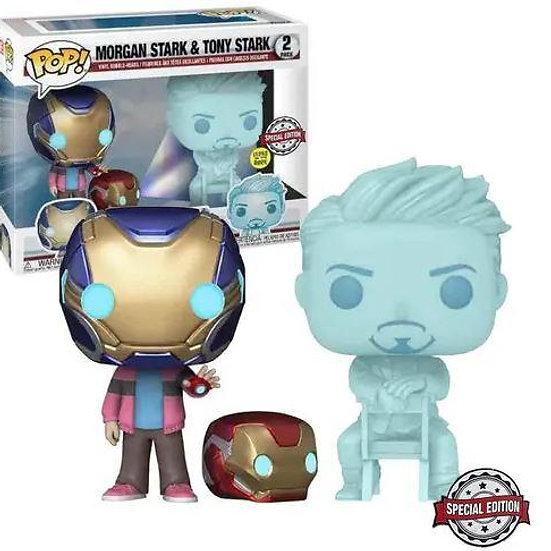 POP! Vinyl Avengers 4: Endgame - Morgan & Hologram Tony Glow with Helmet 2-Pack