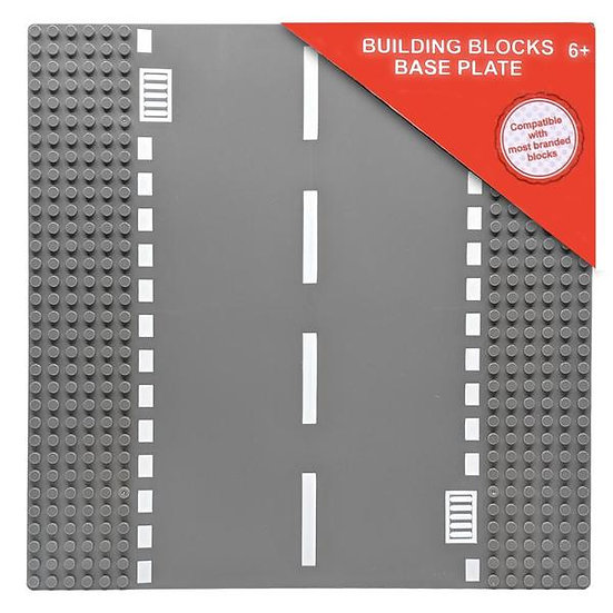 Building Blocks Base Plate with Straight Road - LEGO Compatible