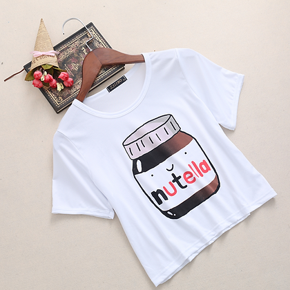 CROPPED NUTELLA SLOGAN T SHIRT