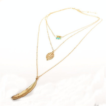 GOLD DIPPED MULTI LEAF PENDANT NECKLACE