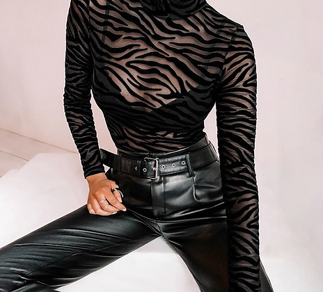 LONG SLEEVE MESH SEE THROUGH ZEBRA BODYSUIT