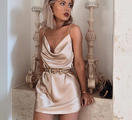 CHAMPAGNE SATIN NIGHT SUMMER DRESS