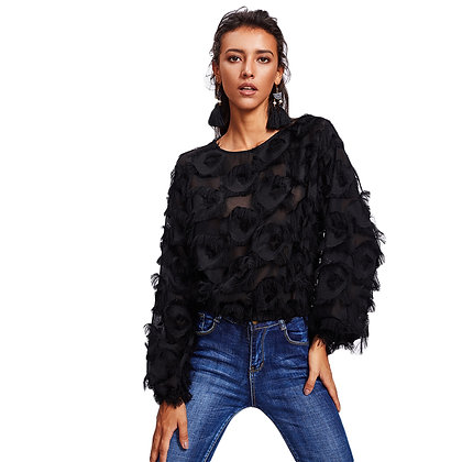 FRINGE PATCH MESH TOP WITH TASSLE DETAIL