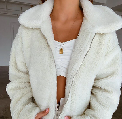 PREMIUM FAUX FUR FLUFFY TEDDY COAT IN CREAM