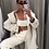 Thumbnail: WHITE SPAGHETTI STRAP CROP TOP IN WAFFLE