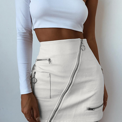 PU WHITE LEATHER SKIRT