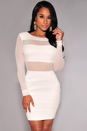 PREMIUM SEXY BANDAGE DRESS WITH HOLLOW OUT DETAILS IN WHITE