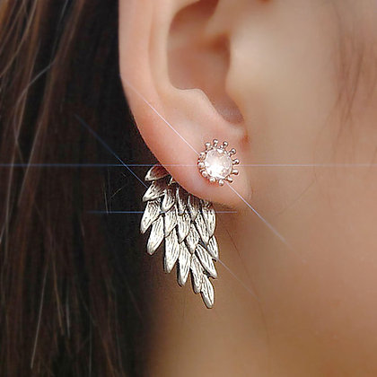ANGEL WING SILVER PLATED STUD EARRING