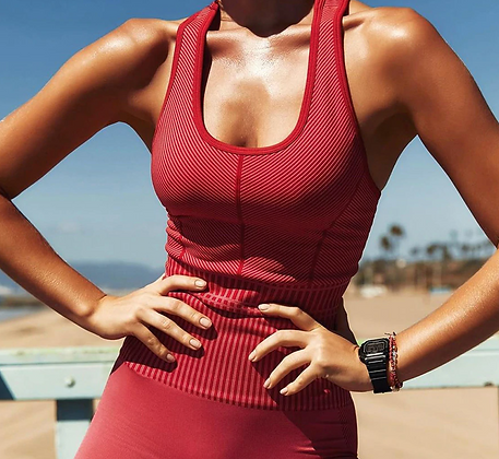PREMIUM RED SEAMLESS GYM TWO PIECE