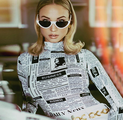 HIGH NECK NEWSPAPER PRINT BODYSUIT