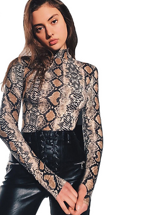SNAKESKIN GRADE BODYSUIT WITH HIGH NECK