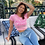 Thumbnail: SLOGAN PRINT PINK CROP TOP