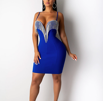PREMIUM DIAMOND FRINGE BODYCON DRESS