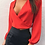 Thumbnail: V NECK BOW CHIFFON BLOUSE IN RED